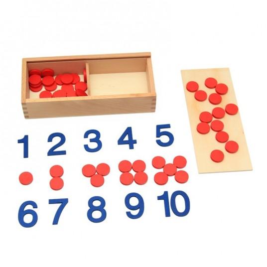 Дървени цифри, жетони и карти