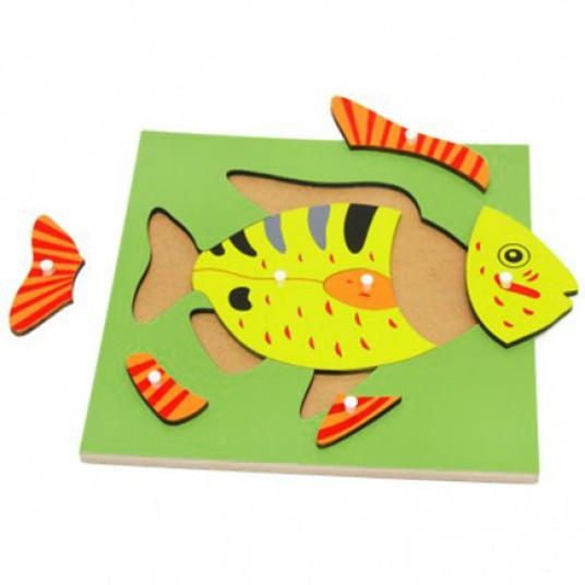 Дървен пъзел с риба