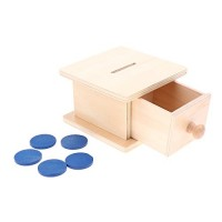 Дървена кутия с чекмедже и жетони - безцветна