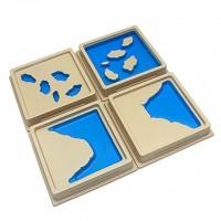Монтесори релефни плочки на земни форми - 10 броя