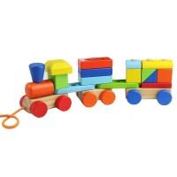 Дървено влакче изградено от геометрични елементи