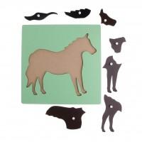 Комплект: Пет дървени пъзели на Монтесори - Кон, Петел, Жаба, Риба и Скакалец