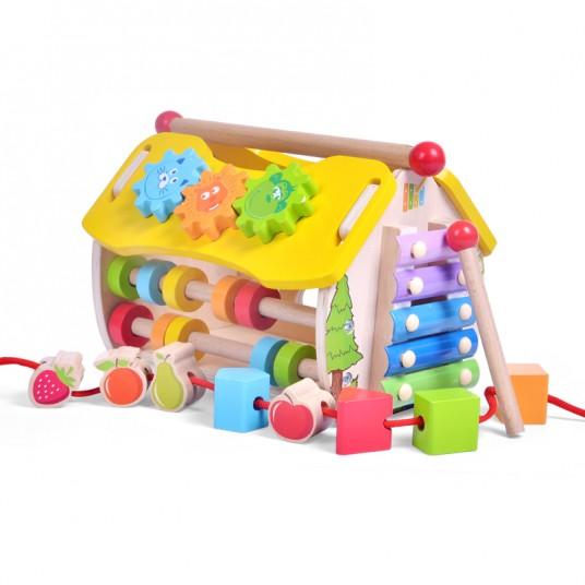 Дървена къщичка с ксилофон, сортер, зъбни колела, часовник и сметало