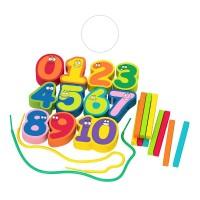 Дървени цветни цифри и пръчици