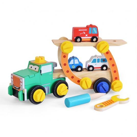 Дървен камион - конструктор с пожарна, линейка и полицейска кола