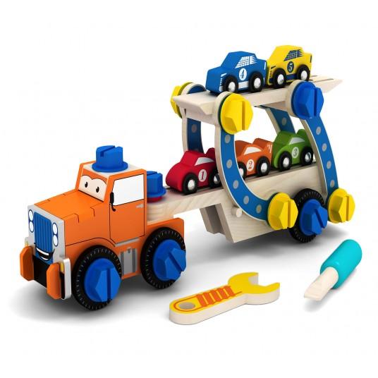 Дървен конструктор с болтчета и гайки - камион за сглобяване с колички