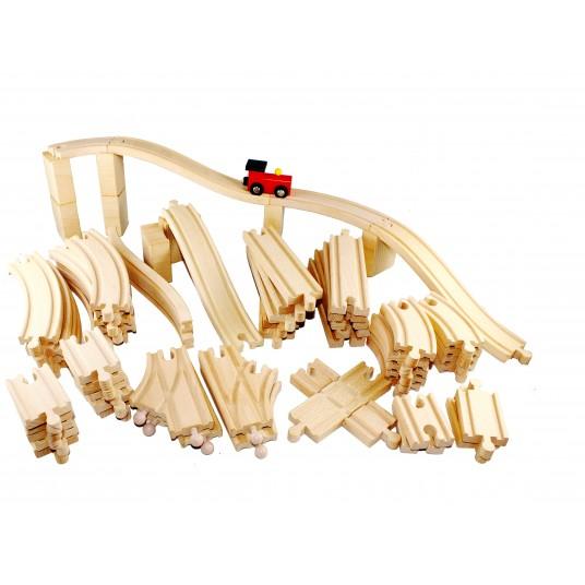 Дървено влакче с релси - 62 елемента
