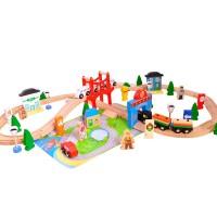 Дървено влакче с релси, 80 елемента - Моят град