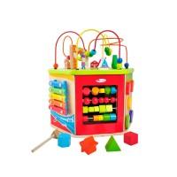 Голяма дървена детска дидактическа играчка - хексостен