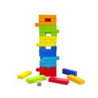 Дървена цветна игра за баланс - дженга със зарче