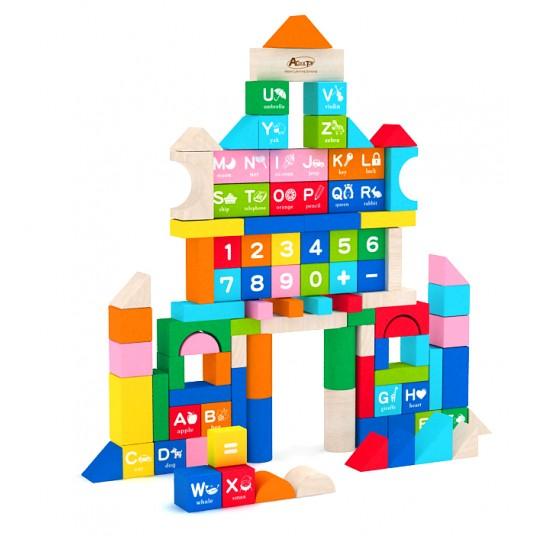 Конструктор с дървени блокчета - 100 елемента