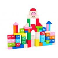 Конструктор с дървени блокчета - 60 елемента