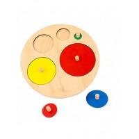 Дървен пъзел с кръгове с различна големина