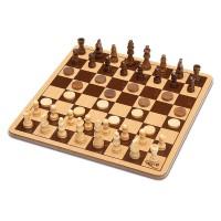Дървен Шах и дама, 2 в 1, в метална кутия