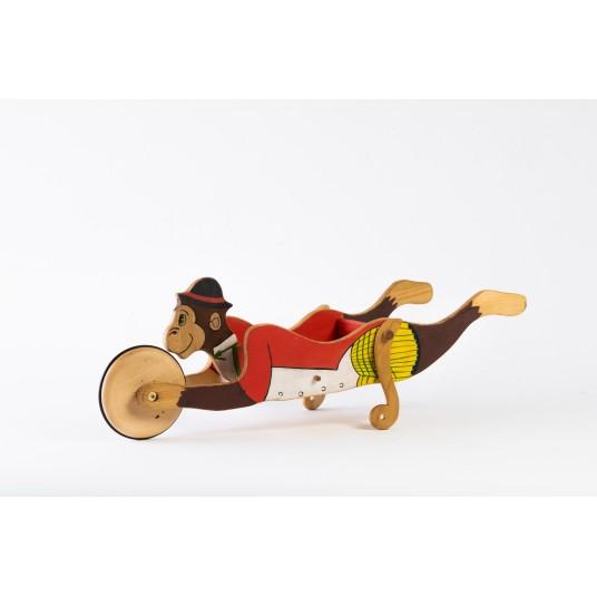 """Дървена детска ръчна количка """"Маймунка"""""""