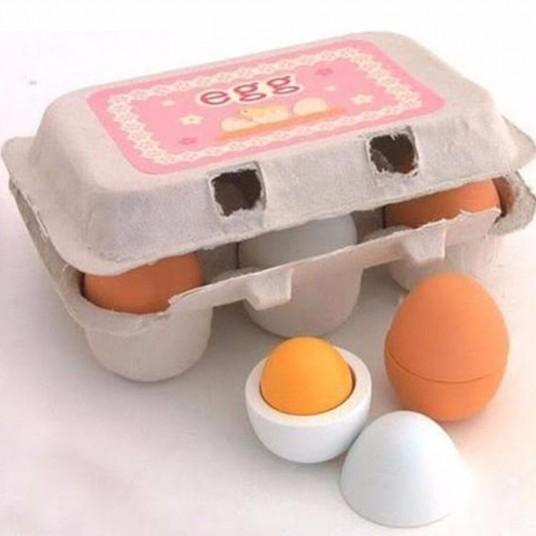 Дървени яйца - 6 броя