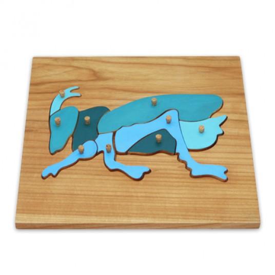 Дървен пъзел на Монтесори със скакалец