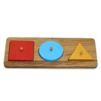 Дървен пъзел с квадрат, триъгълник и кръг