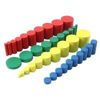 Дървени цветни цилиндри на Монтесори  (голям комплект)