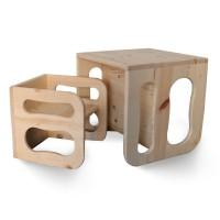 Комплект дървено столче и масичка Монтесори