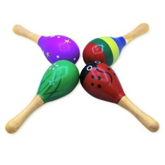 Шарена детска дървена дрънкалка - маракаса