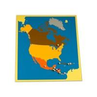 Пъзел Монтесори - карта на Северна Америка