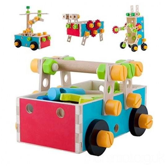 Дървен конструктор с болтчета и гайки