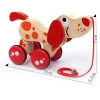 Дървена играчка за дърпане - кученце