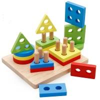 Дървена играчка за нанизване на геометрични форми