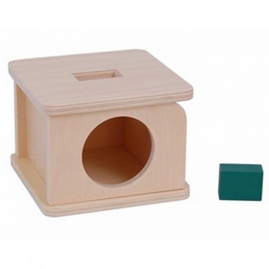 Дървена кутия с вратичка и отвор с правоъгълна форма