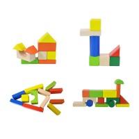 Конструктор с дървени блокчета - 80 елемента
