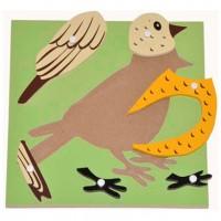 Дървен пъзел с птичка